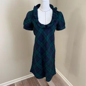 J Crew Black Watch Plaid Wool Phoebe Tartan Dress